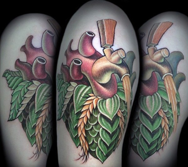 Cuore birra tatuaggio old school